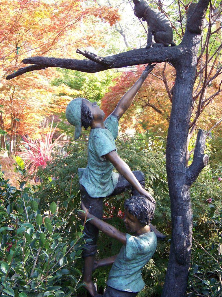 statue, bronze, garden statue